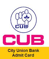 City Union Bank Admit Card