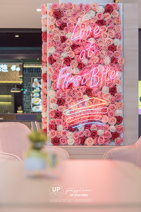 Central i city vanilla mille crepe kiosk highlighted area with floral and led neon signage