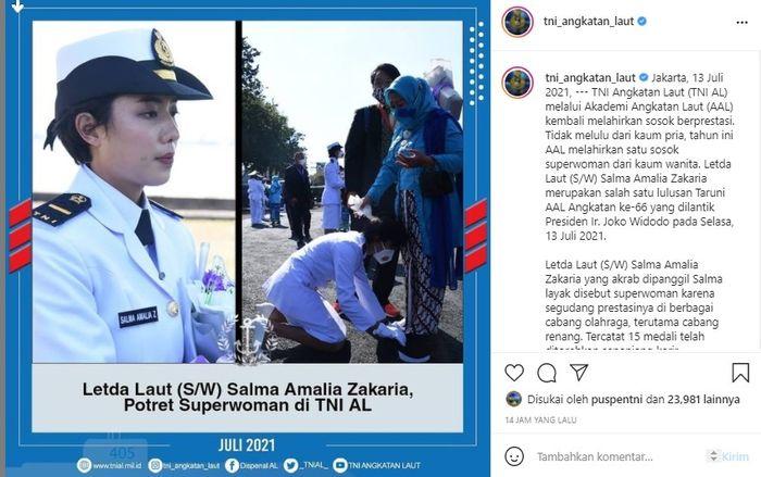 Wanita anggota TNI AL yang berprestasi, Salma Amalia Zakaria. Instagram @tni_angkatan_laut