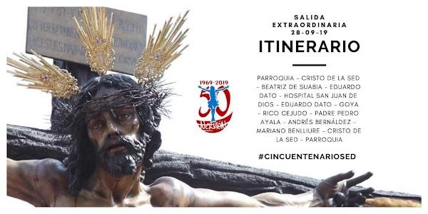 Itinerario de la Salida Extraordinaria del Cristo de la Sed en Sevilla el 28 de Septiembre del 2019