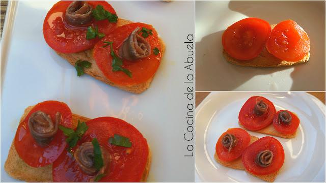 Canapés anchoas tomate aperitivo pasos