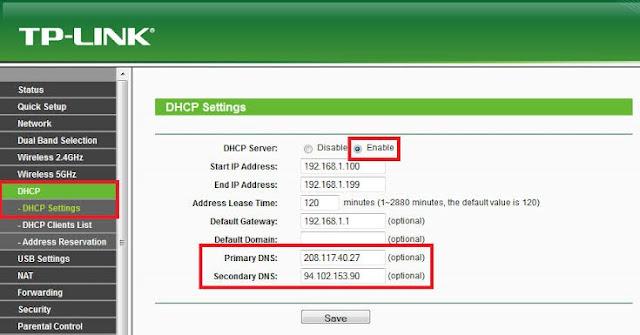 Change DNS server of TP-LINK Router.