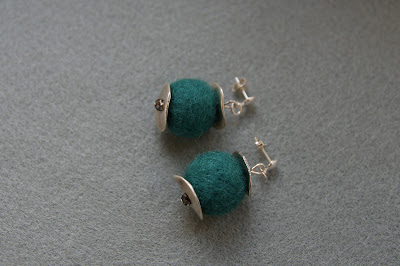 Turqouise felt earrings & Swarovski Crystals