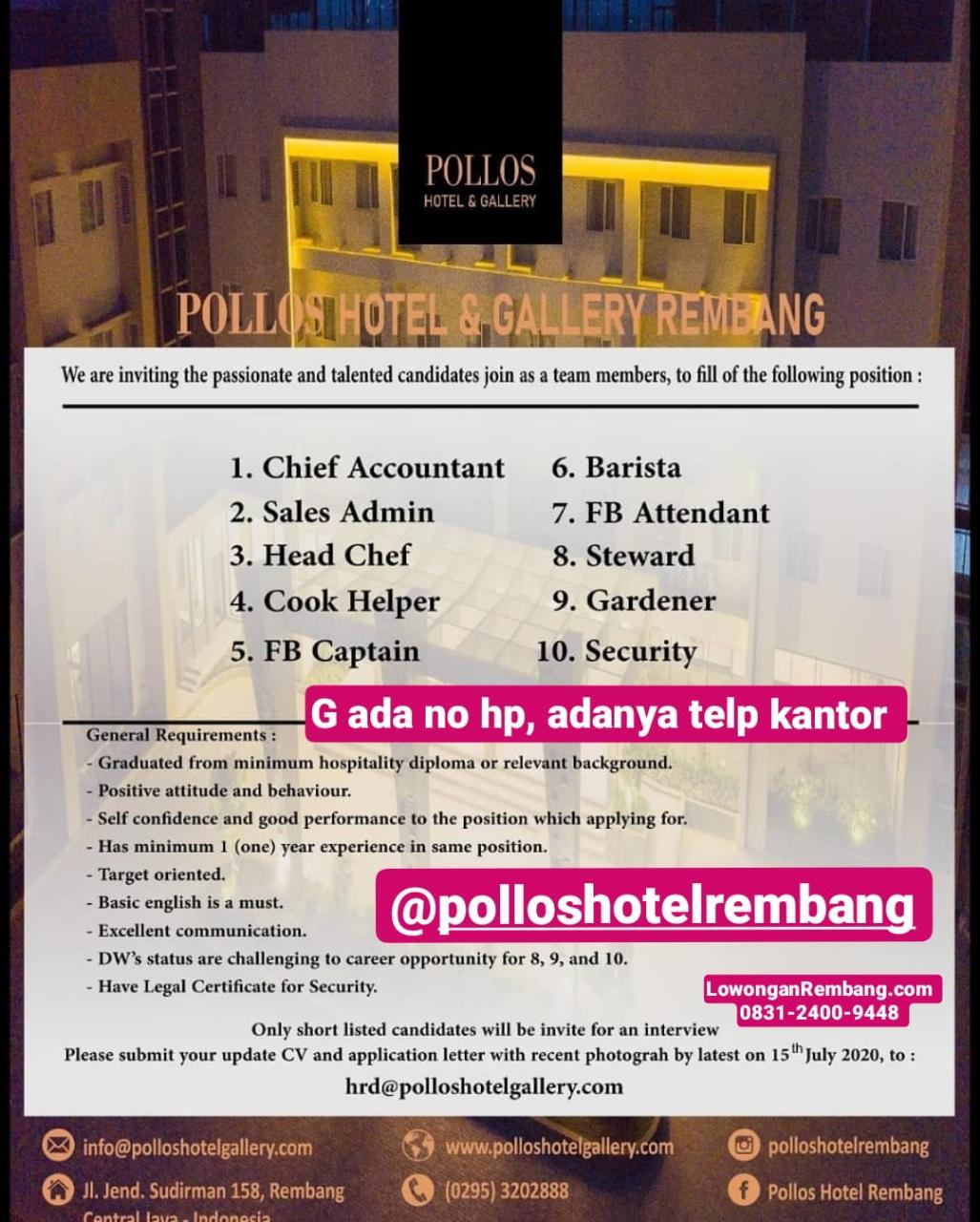 10 Macam Lowongan Kerja Pollos Hotel & Gallery Rembang