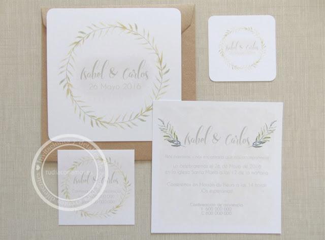 Modelo de invitación romántica y sencilla en acuarela y corona de hojas vegetales