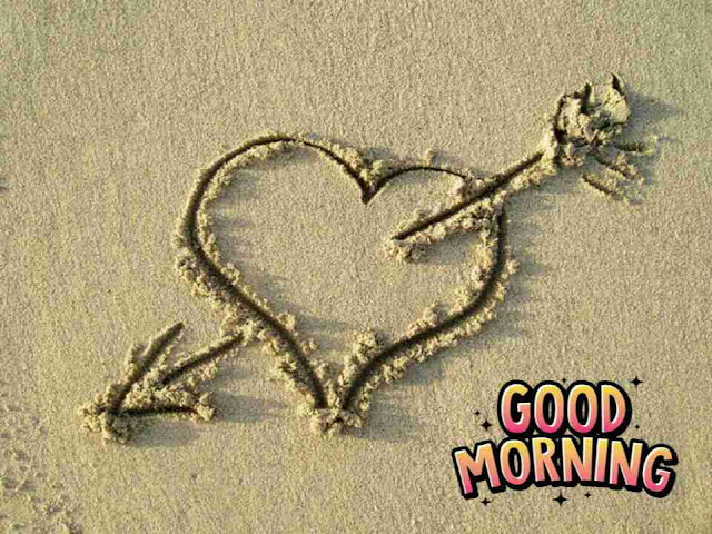 Beautiful good morning photo image with love heart on sand