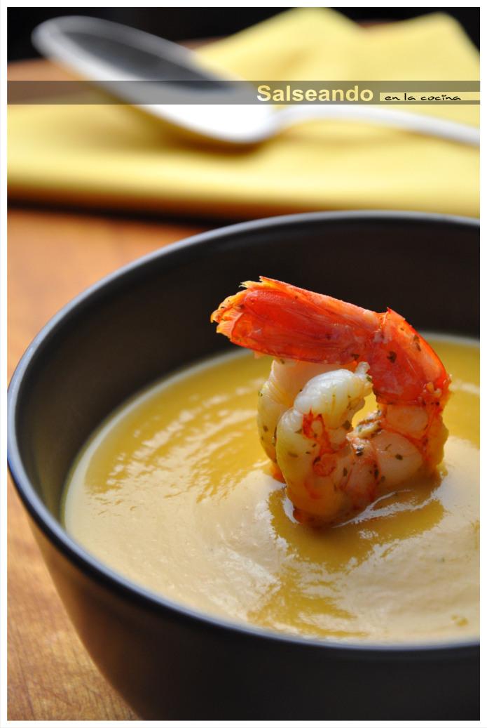 Salseando En La Cocina Crema De Calabaza Y Gambas Salteadas Con Naranja
