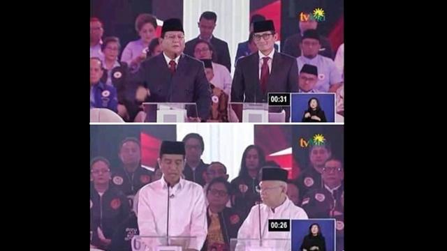 Jawab Pertanyaan Debat Sesi Pertama, Jokowi Lihat Contekan, Prabowo Menjawab Tegas