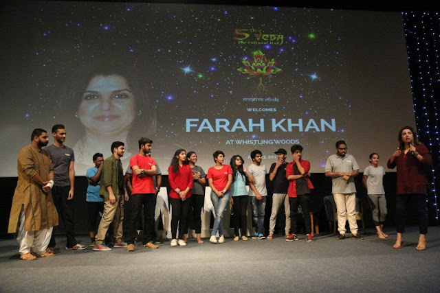 Farah Khan with students of WWI