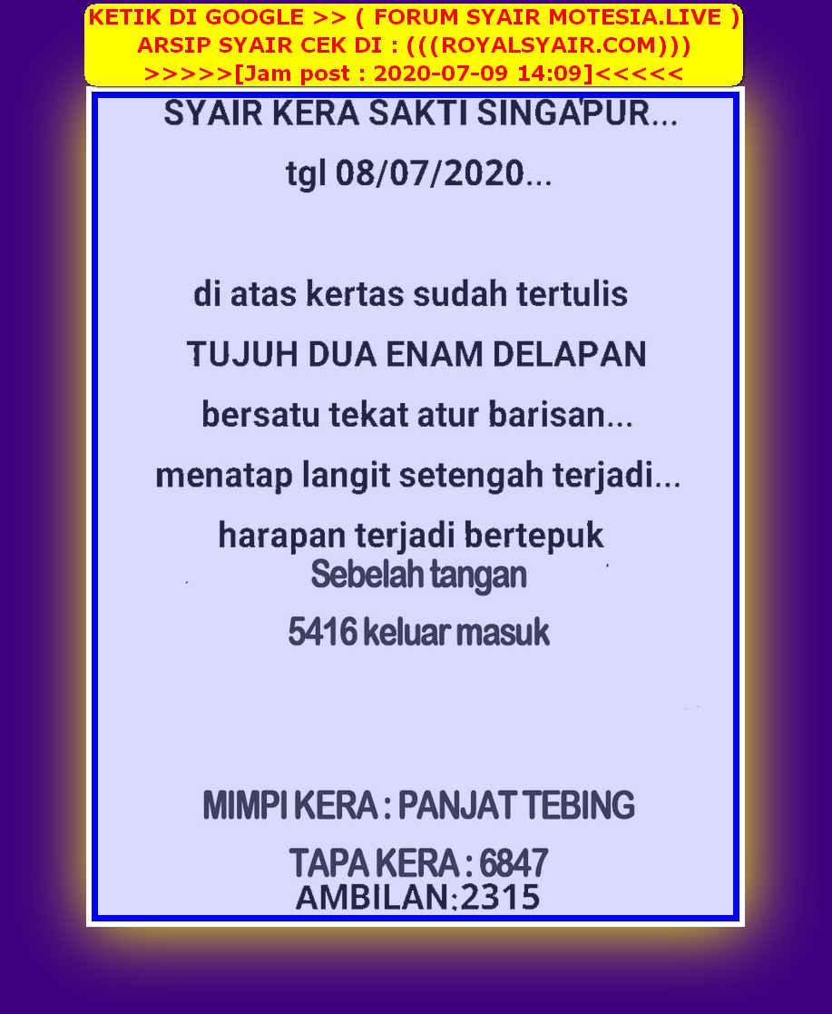 Kode syair Singapore Kamis 9 Juli 2020 24