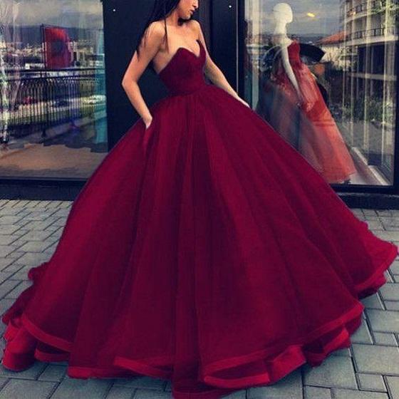 Burgundy Strapless Ball Gown Prom Dress