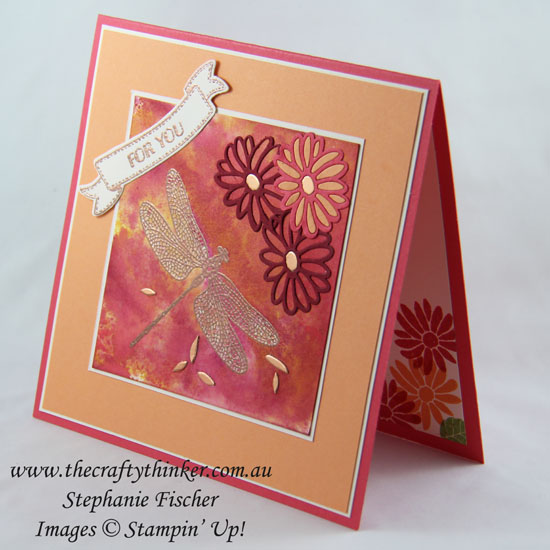 #thecraftythinker, Special Reason, Dragonfly Dreams, Watercolour background, Stampin Up Australia Demonstrator, Stephanie Fischer, Sydney NSW, Copper, ink smooshing