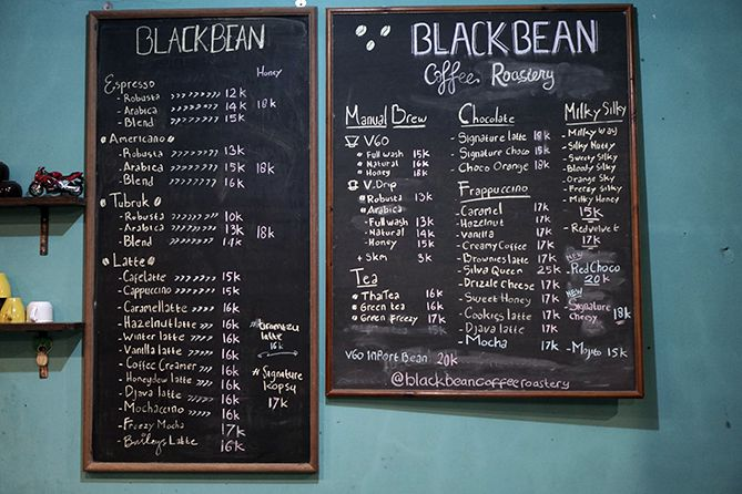 Daftar menu dan harga Blackbean Coffee House and Roastery Jepara