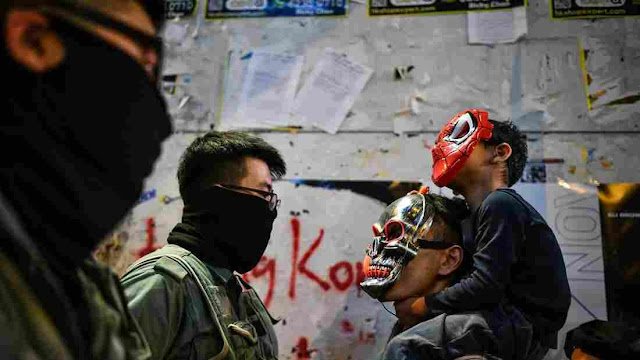 On Halloween, Police Fire Tear Gas At Costumed Hong Kong Protesters