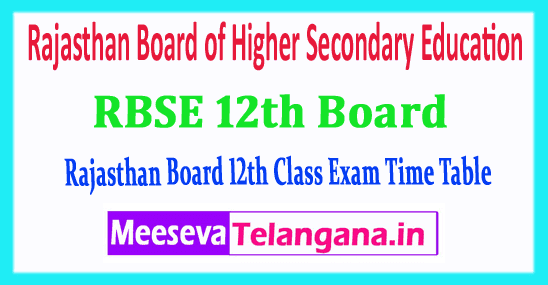 RBSE 12th Rajasthan Board of Higher Secondary Education 12th Class Time Table