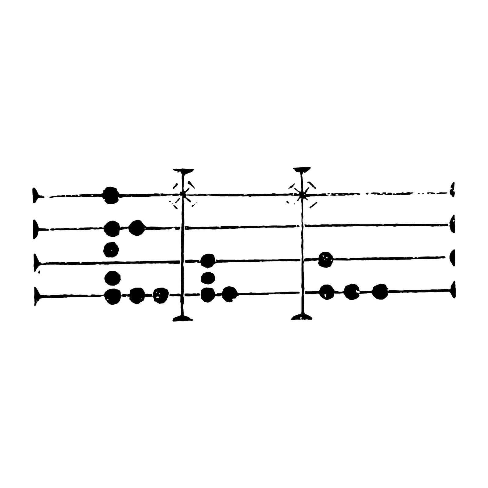 おしゃれでかわいい「中世の打鍵楽器用音符」pop向けテンプレート010