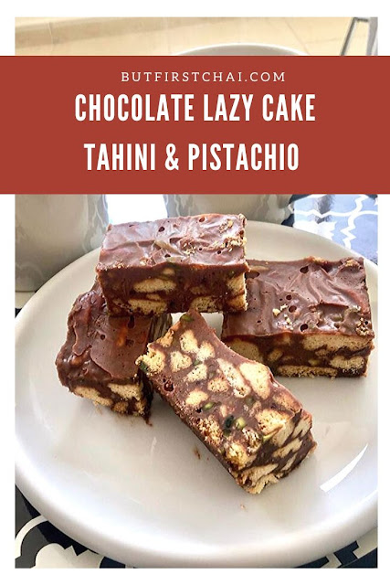 Chocolate Lazy Cake with Tahini and Pistachio