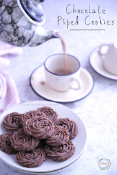 Eggless Chocolate Piped Cookies