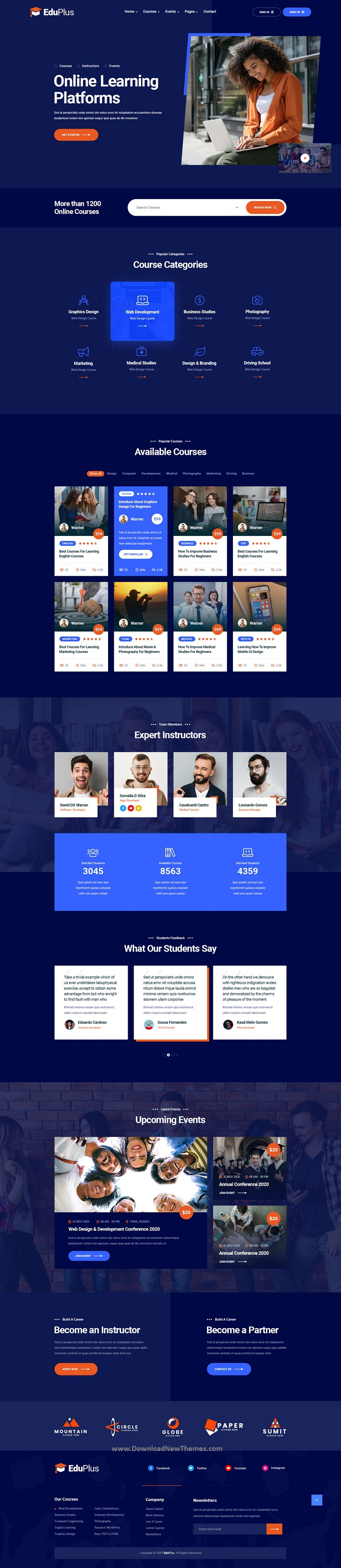 Online Courses PSD Template