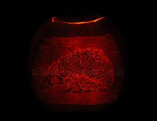Pumpkin Carving of a Hedgehog
