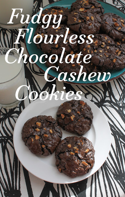 Food Lust People Love: All of my taste testers agree, these fudgy flourless chocolate cashew cookies are GOOD. Better than good. We thought they were fabulous. Crunchy on the outside and wonderfully chewy in the middle. And as long as there are no nut allergies to worry about, your gluten-free friends will love them too.