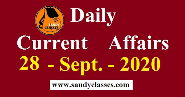 Daily Current Affairs in Hindi / English - 28 September 2020
