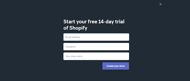 Screenshot Account Creation Shopify 14 Days Trial