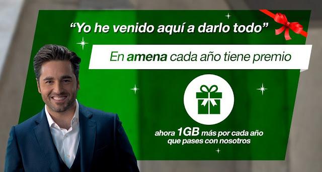 Amena te regala 1 GB gratis cada año que pases con ellos.
