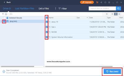 Mengembalikan file yang hilang menggunakan aplikasi Easeus data recovery wizard.