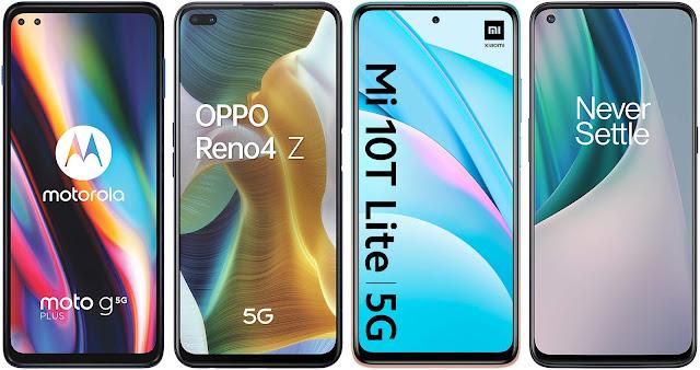 Motorola Moto G 5G Plus vs Oppo Reno 4Z 5G vs Xiaomi Mi 10T Lite 5G vs OnePlus N10 5G