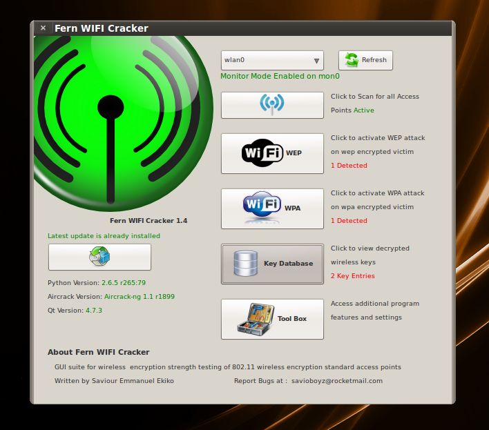 WiFi password crack with fern WiFi cracker