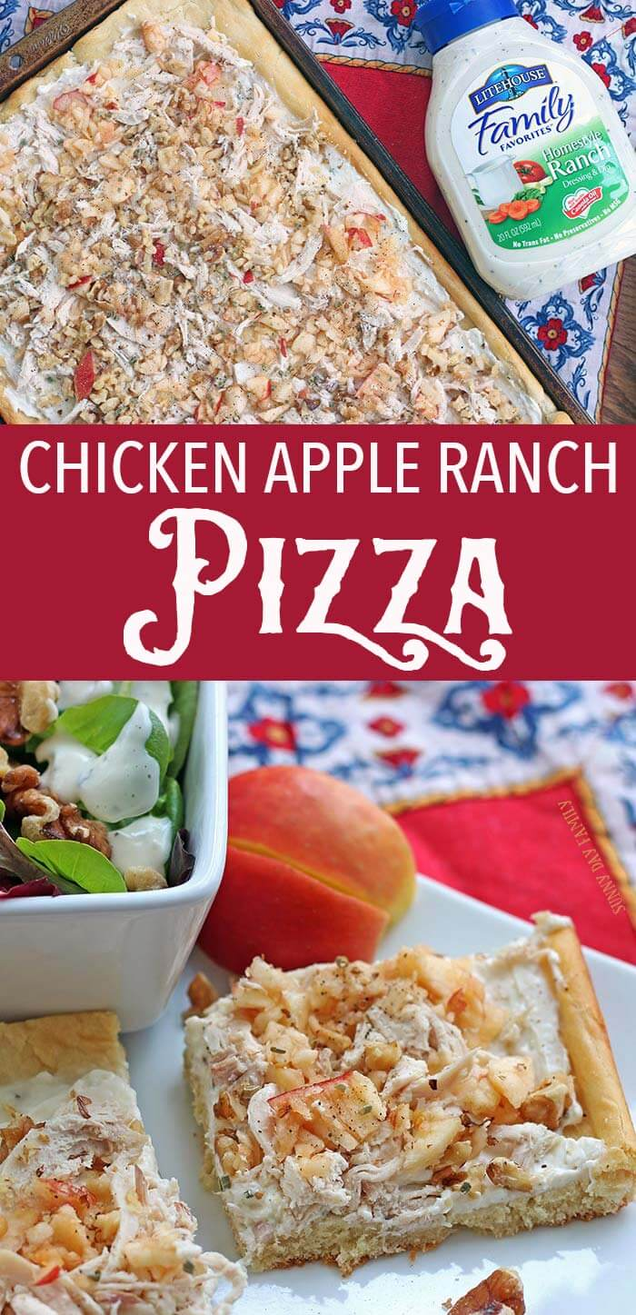 This Chicken Apple Ranch Pizza is an easy summer dinner or a perfect potluck recipe! Everyone will love it and it is so simple to make - you've got to try it!
