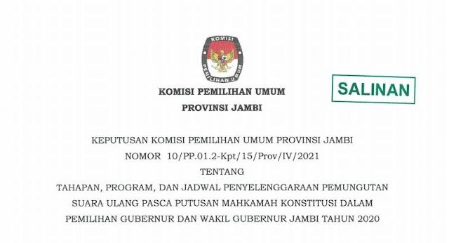 KPU Tetapkan PSU Pilgub Jambi 27 Mei 2021