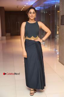 Actress Regina Candra Stills in Beautiful Blue Long Dress at Nagaram Success Meet  0166.JPG