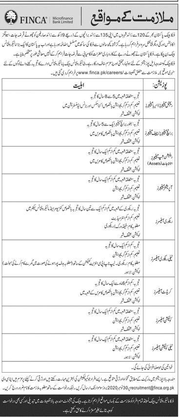 FINCA Microfinance Bank Limited Jobs in Pakistan - Online Apply - www.finca.pk/careers/ - recruitment@finca.org.pk Jobs 2021