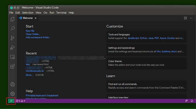 Tampilan Visual Studio Code dengan ikon remote