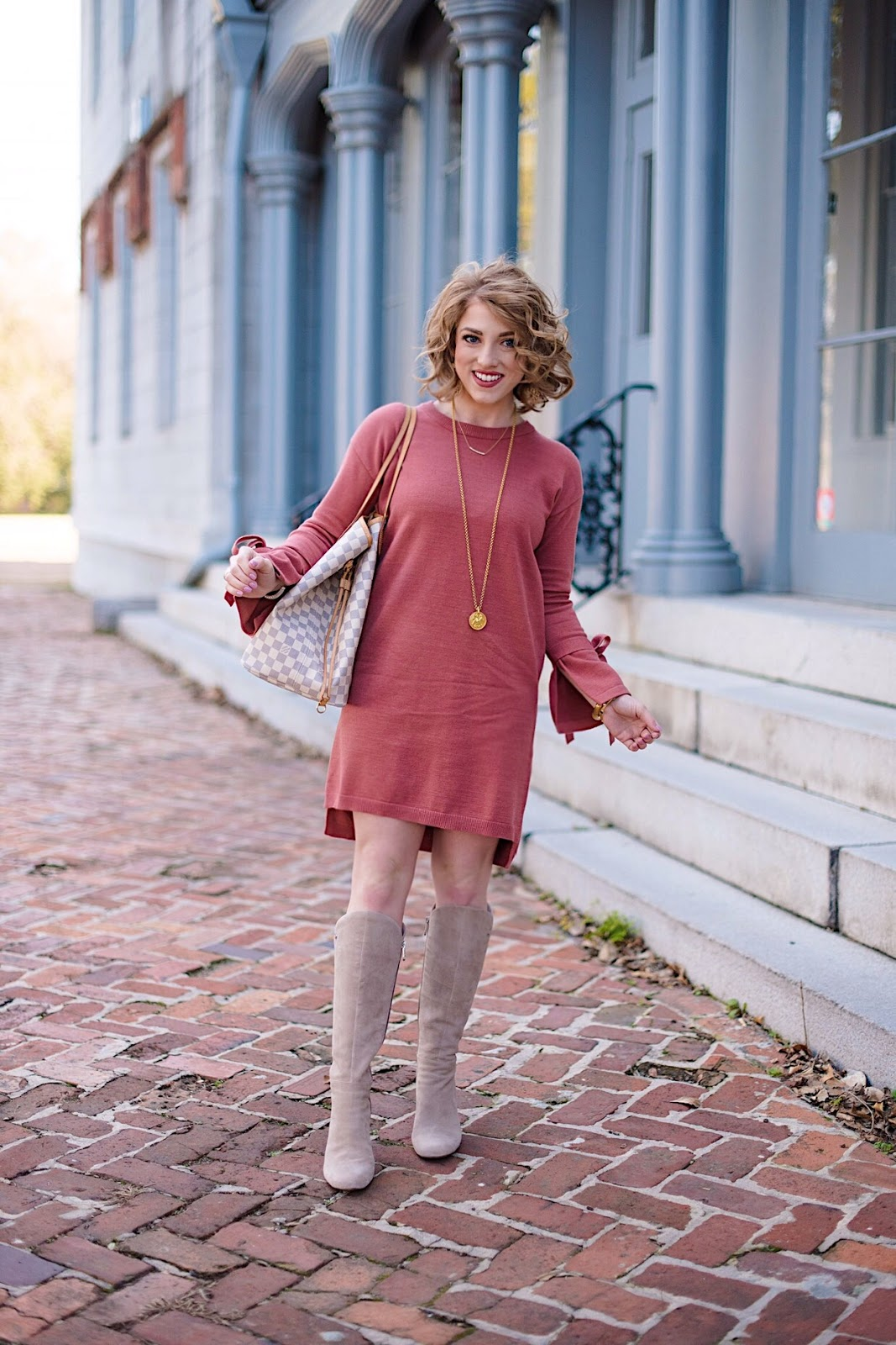 4ac1d098f06 Something Delightful   Under  50 Tied Sleeve Sweater Dress