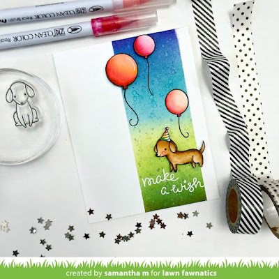 Make a Wish Card by Samantha Mann, Lawn Fawn, Lawn Fawnatics Challenge, Birthday, Cards, Distress Inks, Ink blending, handmade cards, #lawnfawn #lawnfawnatics #birthday #cards #distressinks #inkblending