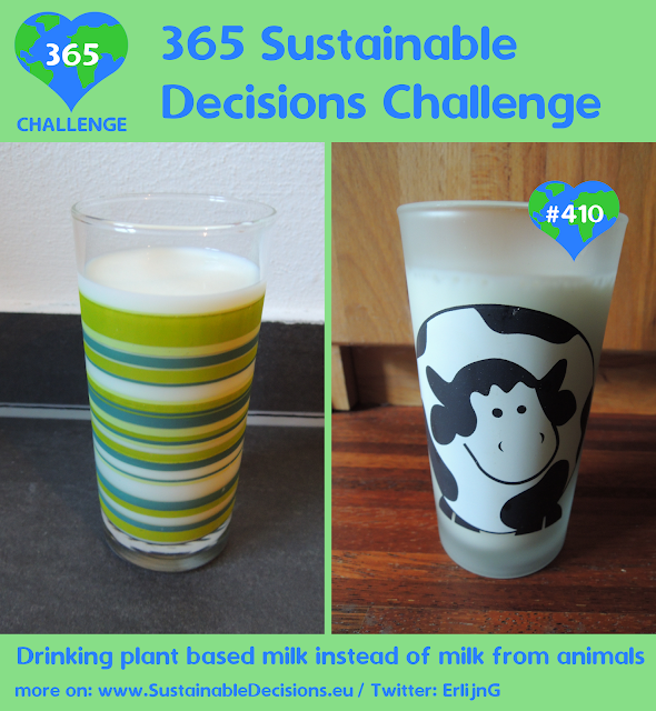 On the left a picture of a glass of cow milk, on the right a picture of a glass of soy milk