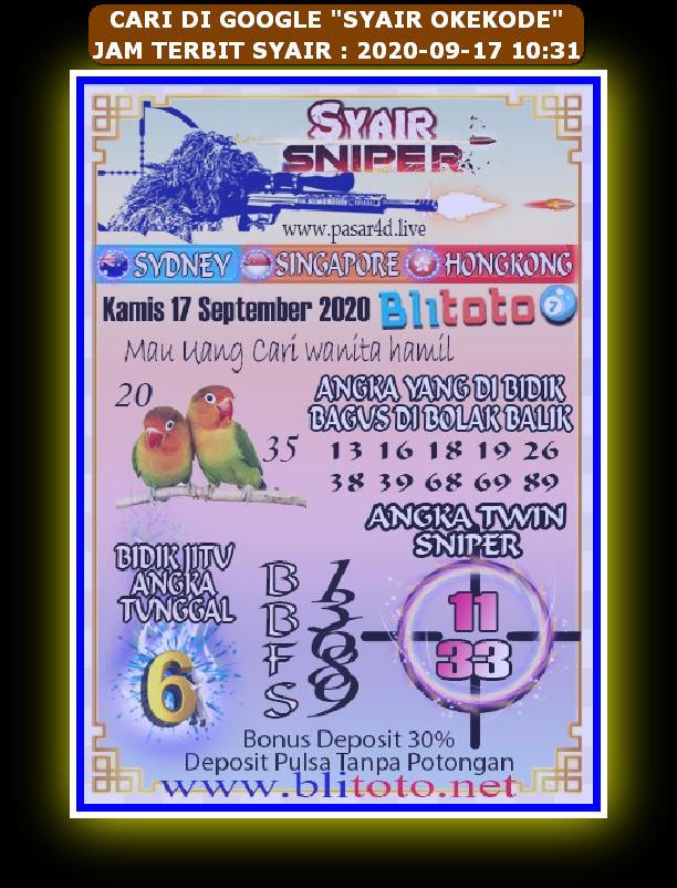 Kode syair Singapore Kamis 17 September 2020 84