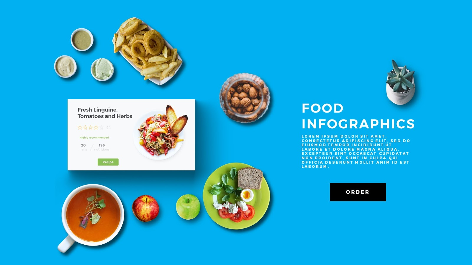 food scene generating powerpoint template infographicon