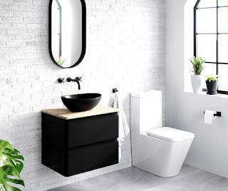 black bathroom sink cabinet