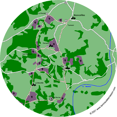 Map of the vineyards and hikes.