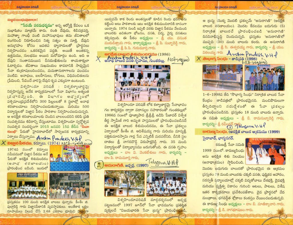 sewavibhag of vhp runs 8 chatrawas in 2 telugu states 5 of them in telangana 3 in ap catering to over 300 destitute and needy children