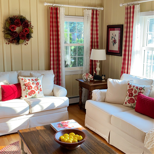 Cottage Style Red and White Living Room
