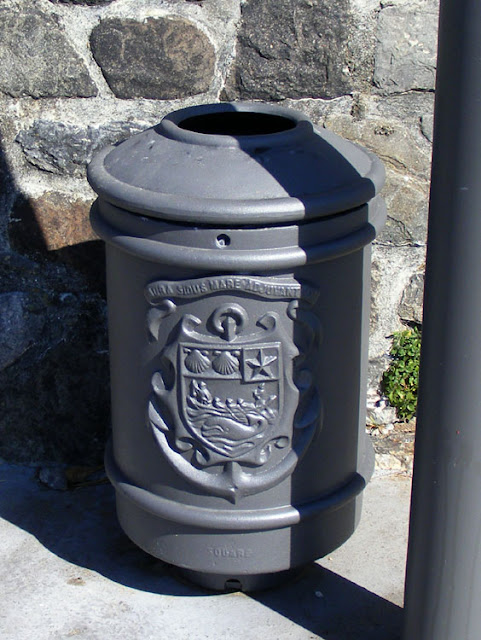 Rubbish bin, Biarritz, Pyrenees-Atlantiques.  France. Photographed by Susan Walter. Tour the Loire Valley with a classic car and a private guide.
