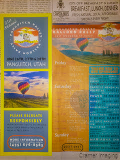 Photograph featuring a Cramer Imaging hot air balloon photo as the featured image for the 2020 Panguitch Balloonfest newspaper and flyer advertising