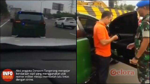 Mobil Cat Ijo Melaju dengan Sirine dan Nopol Militer Dikejar Denpom, Ternyata Anggota Ormas
