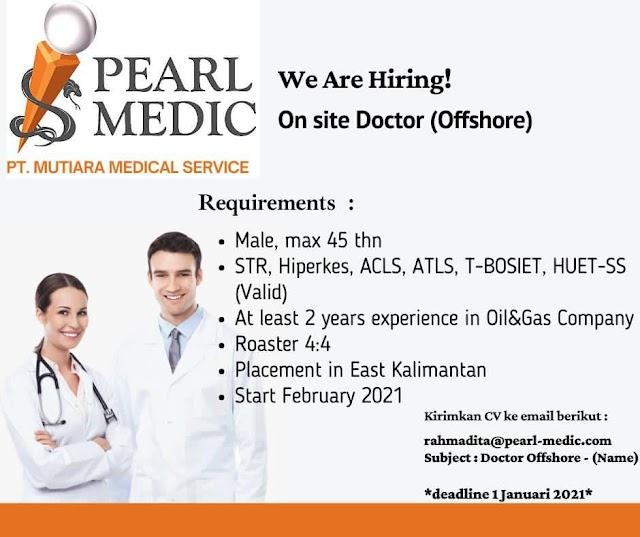 Loker On site Doctor (Offshore) PT. Mutiara Medical Service