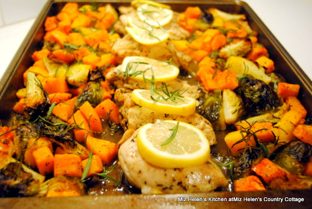 Sheet Pan Lemon Rosemary Chicken With Butternut, Brussels Sprouts at Miz Helen's Country Cottage